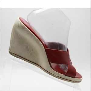 Anne Klein Red Wedge Shoes Casual Open Toe
